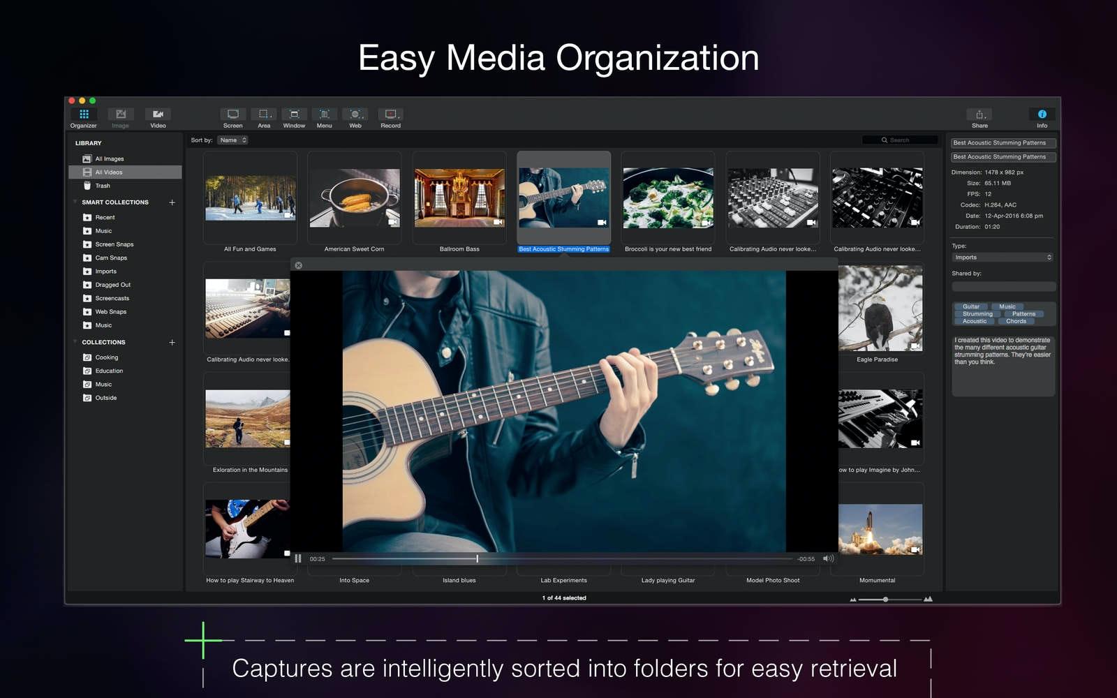 Organizzare i file multimediali.