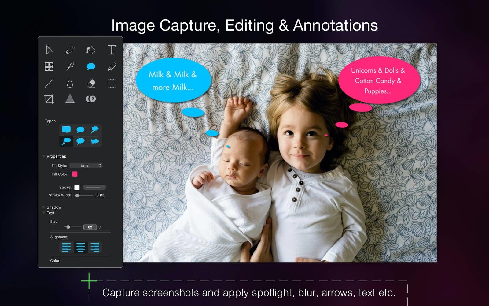 Cattura immagine, modifica, annotazioni. Cattura screenshot e aggiungi punti luce, sfocatura, frecce, testo.