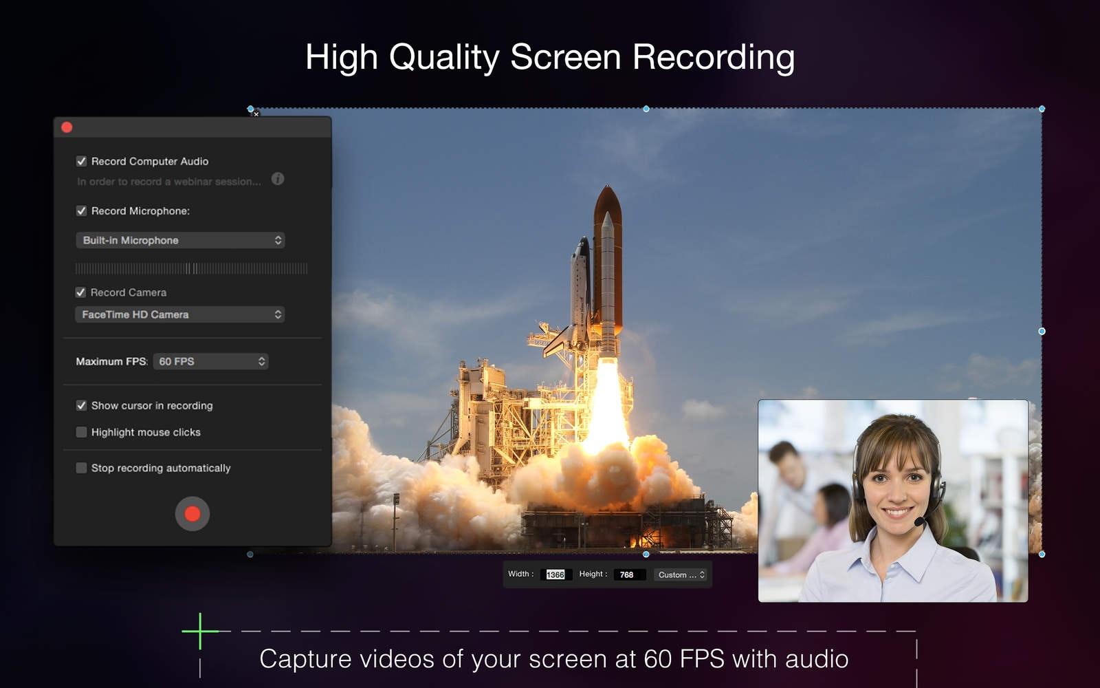 Registrazione dello schermo in HQ Riprendi video della tua schermata a 60 FPS con audio.