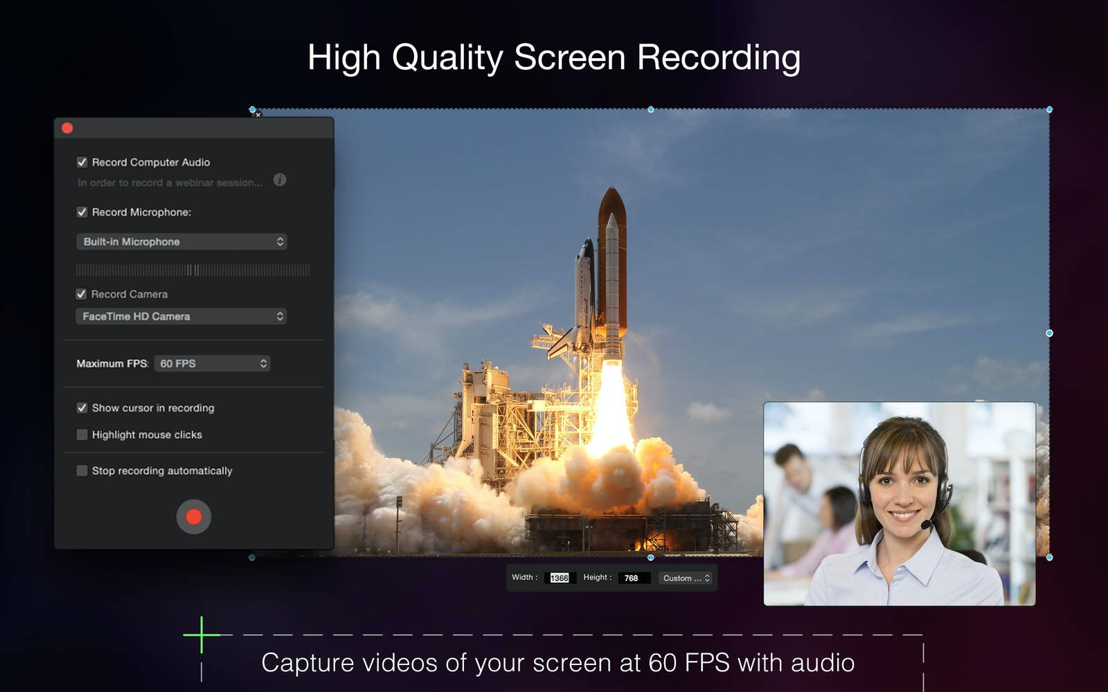 HQ screen recording. Capture videos of your screen at 60 FPS with audio.