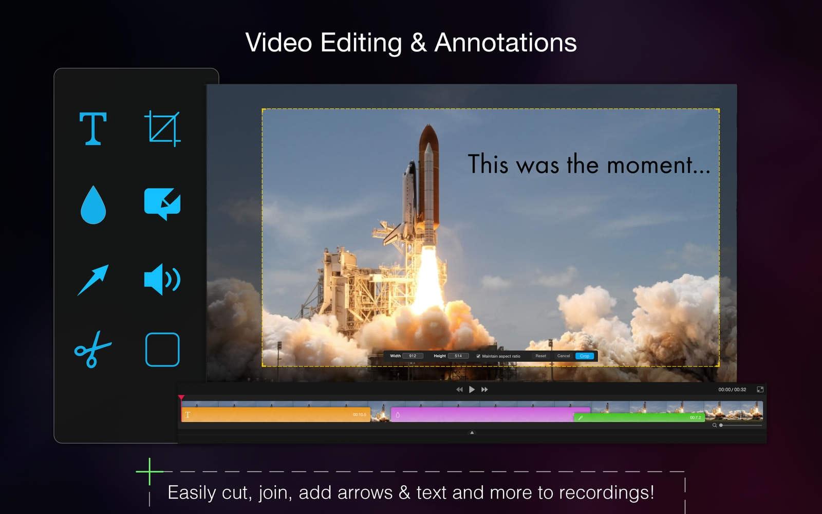 Editing video annotazioni. Taglia, unisci, aggiungi frecce e testo alle registrazioni.