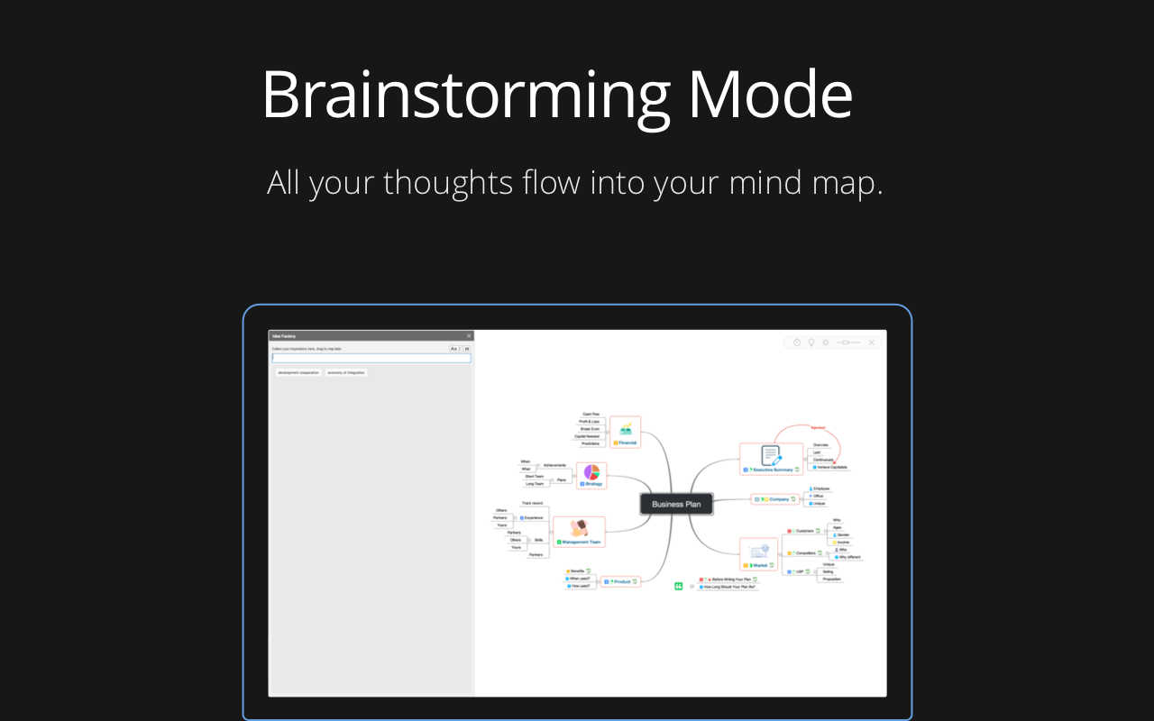 Xmode app: brainstorming mode. All your thoughts flow into your mind map.