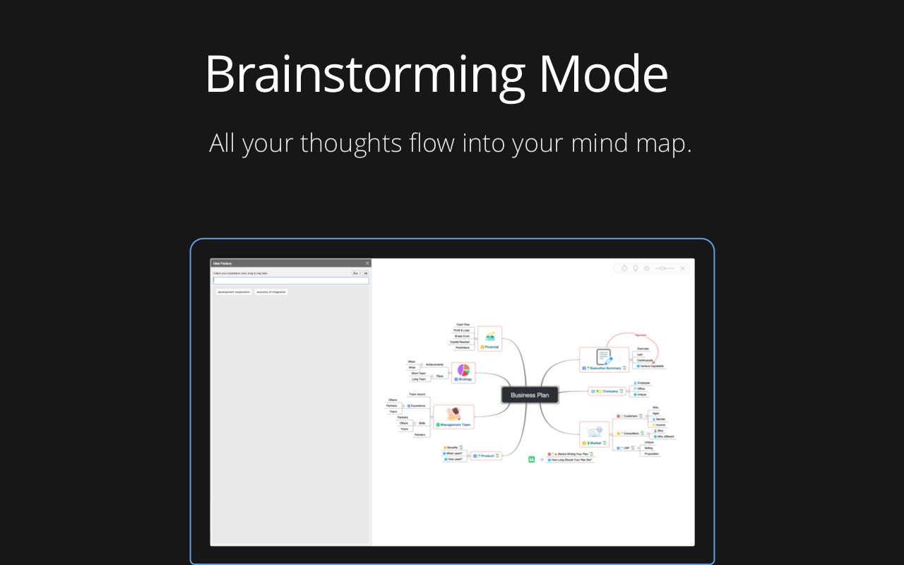 App Xmind : mode brainstorming. Agencez toutes vos idées dans une carte heuristique.