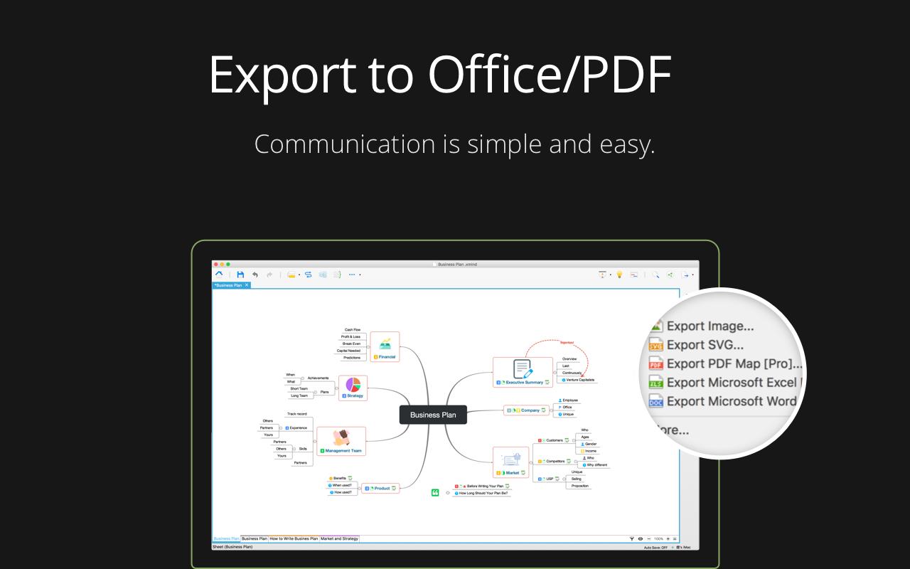 Exportez des cartes heuristiques sous forme de fichiers Office, de PDF ou d'images.