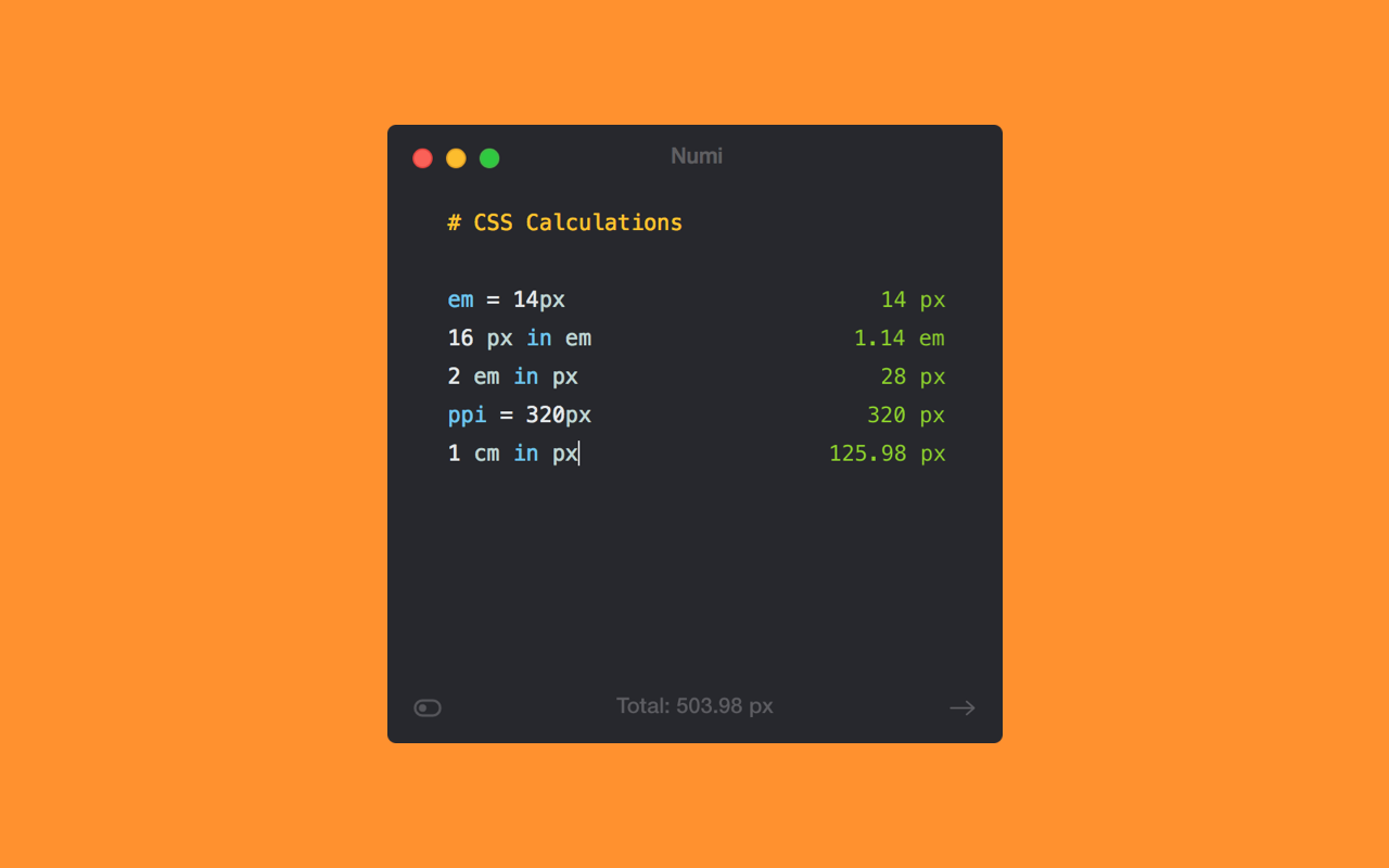 Numi unterstützt mehrere CSS-Einheiten.