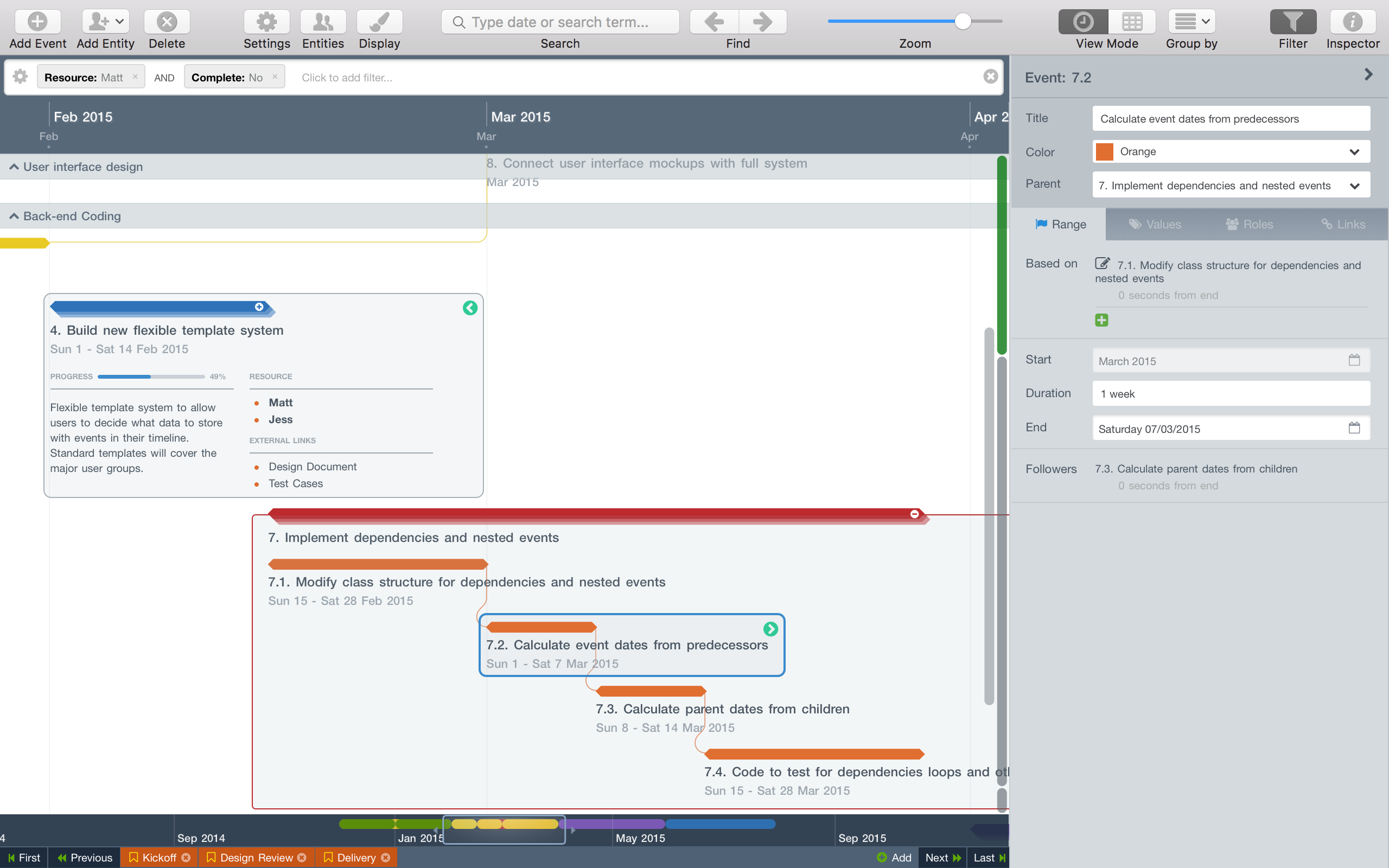 Layout your events (tasks) on a visually appealing timeline