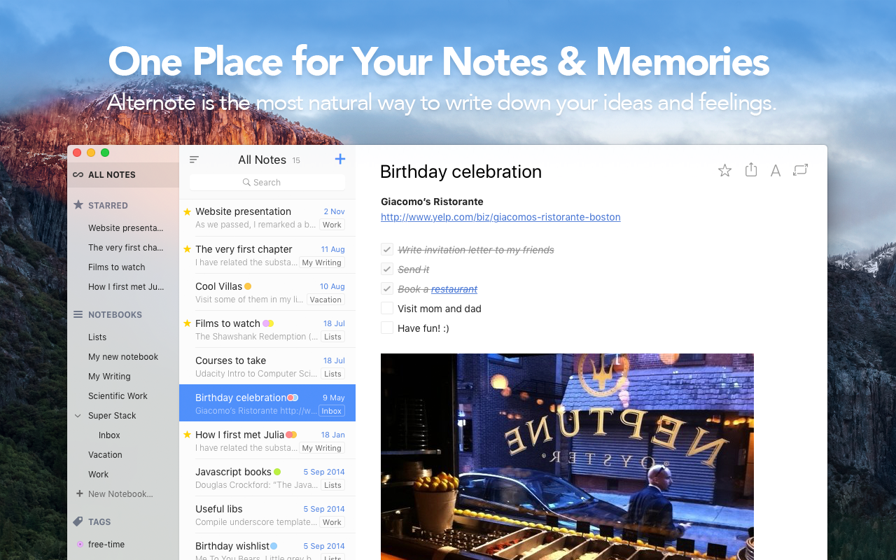 One place for your notes and memories: Alternote is the most natural way to write down your ideas and feelings.