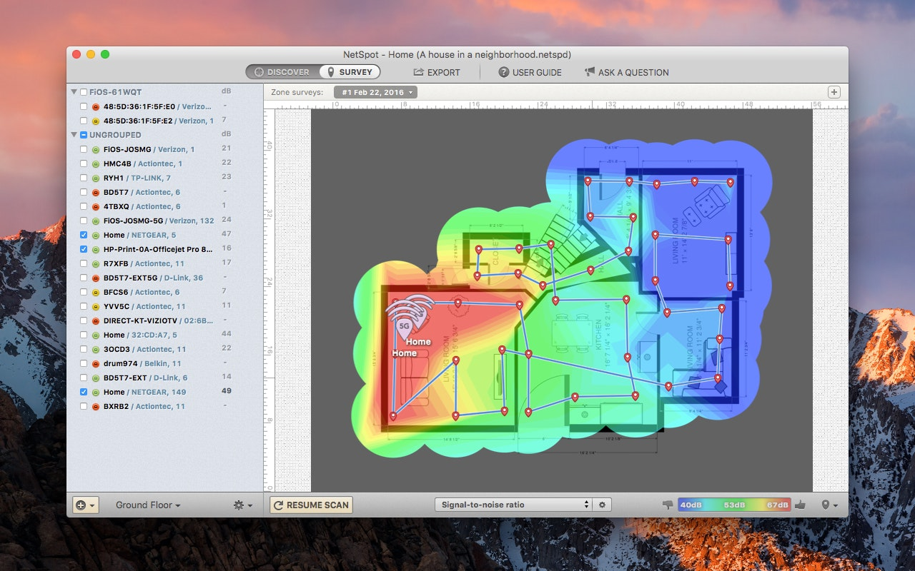 WiFi site survey and quickly map wireless coverage - NetSpot color-spectrum heatmap shows the best, worst, and mediocre areas of network coverage and cell overlap, along with base station locations.