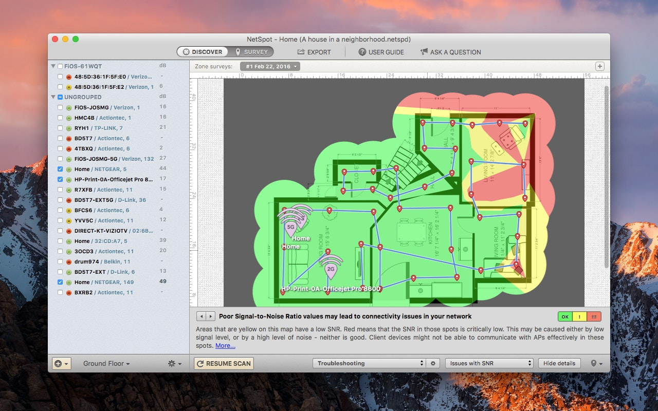 Zone survey allows you create troubleshooting heatmaps and get extensive recommendations to fix wifi network issues.