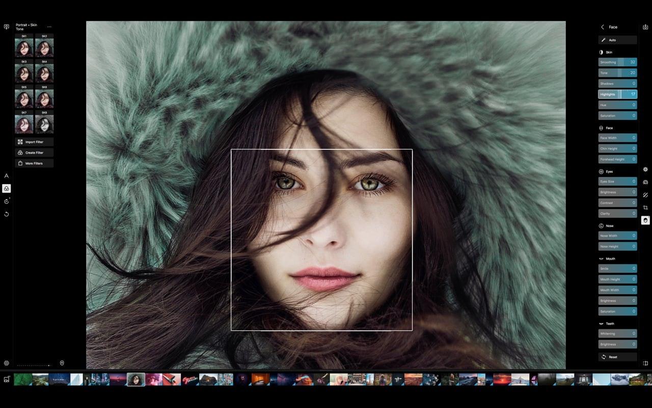 Polarr's face editing tools.