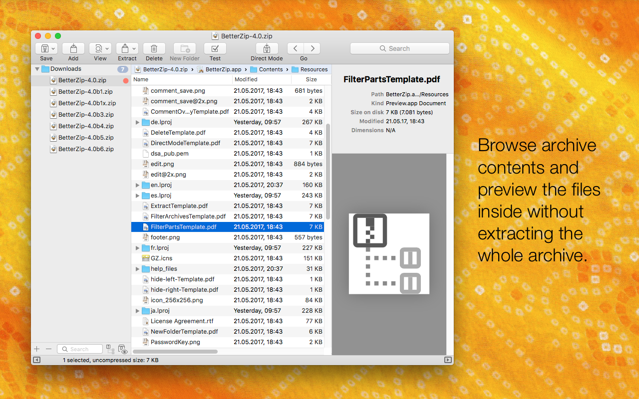 BetterZip allows you browse archive contents and preview the files without extracting.