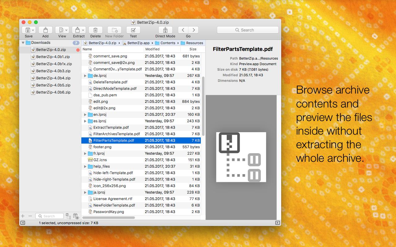 Parcourez le contenu des archives et prévisualisez les fichiers qu'elles contiennent sans pour autant les extraire entièrement.