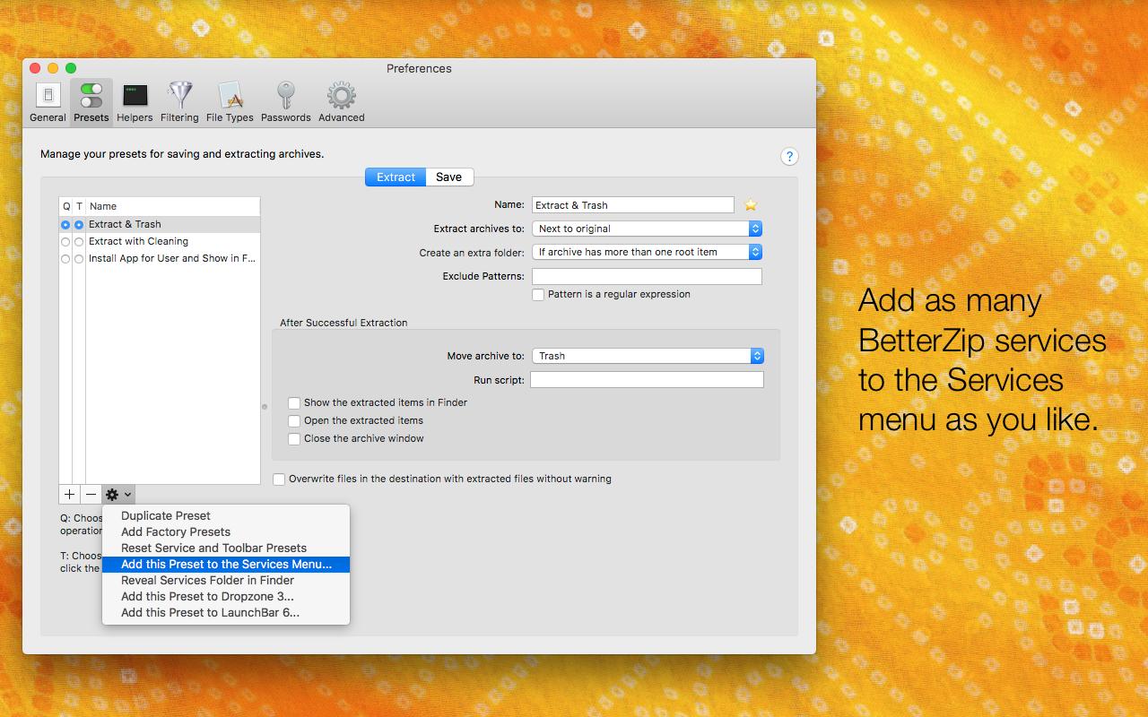 Ajoutez autant de services BetterZip que vous souhaitez au menu des services.