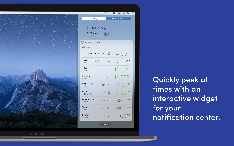 Consultez rapidement l'heure grâce au widget interactif du centre de notification.