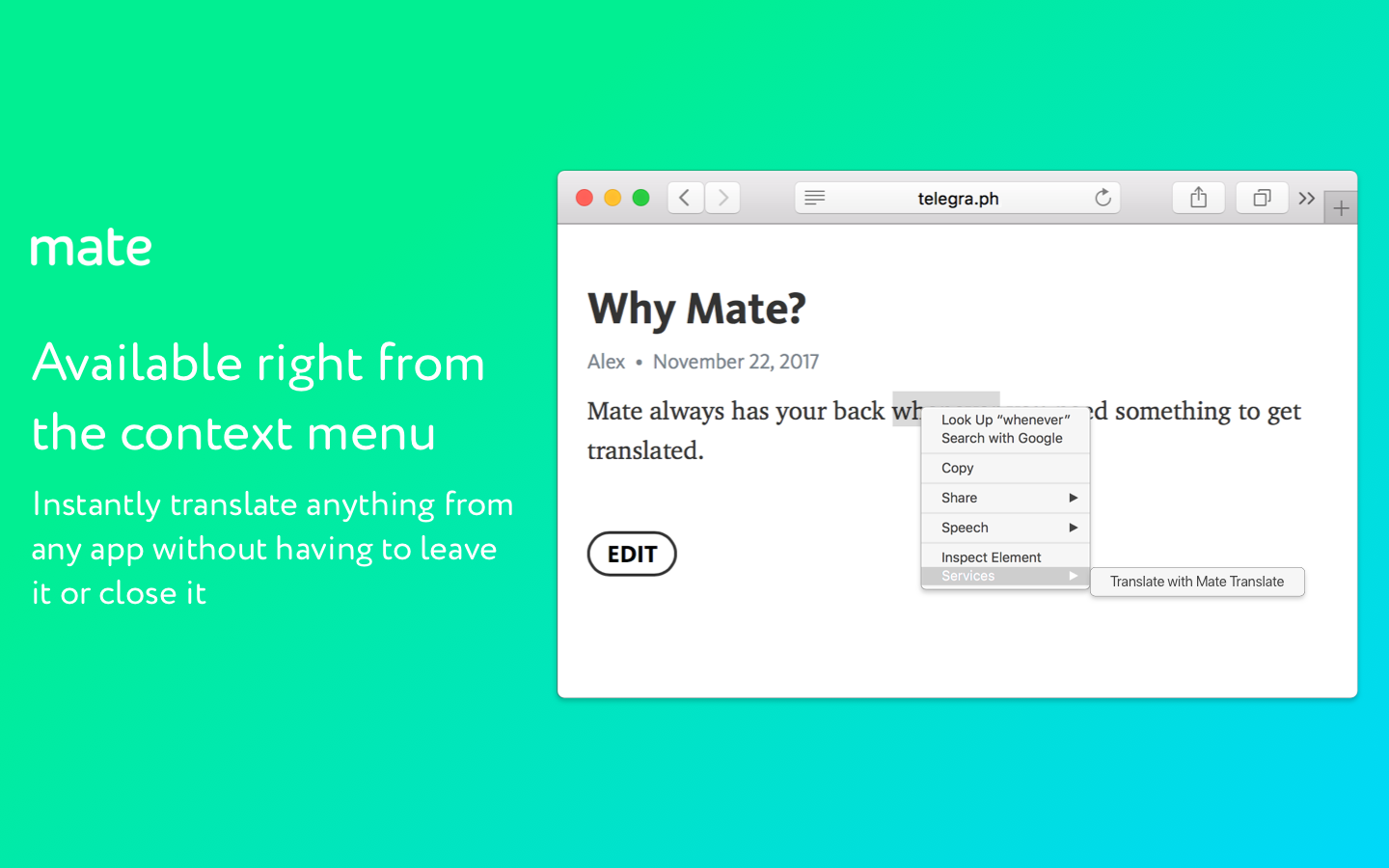 Use your context menu to translate anything with Mate.