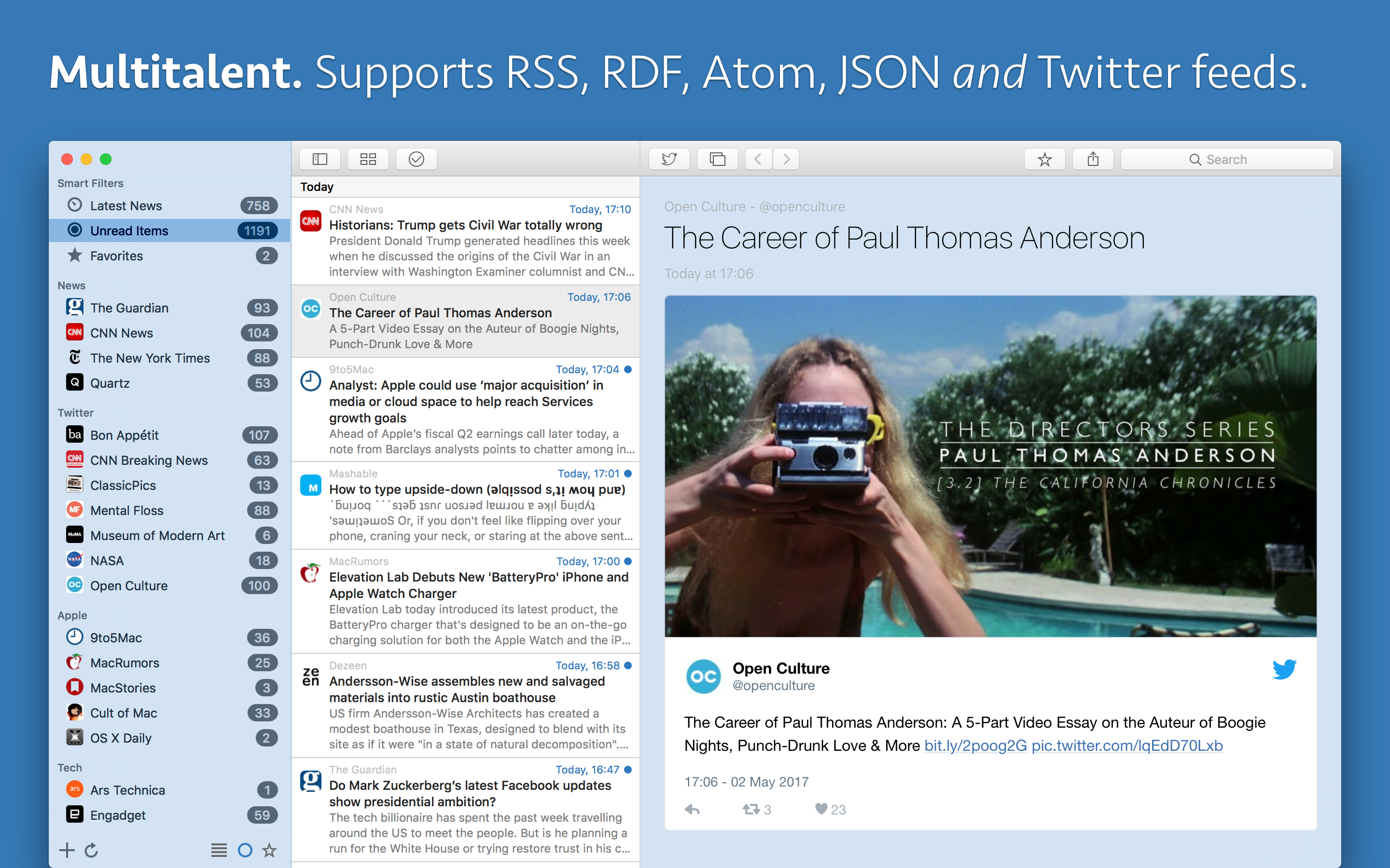 Supports RSS, RDF, Atom, JSON and Twitter feeds.
