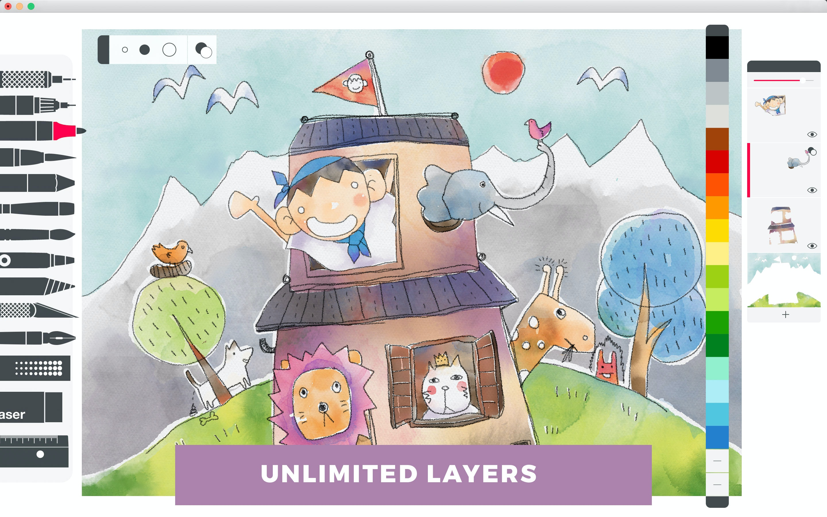 Draw with unlimited layers.