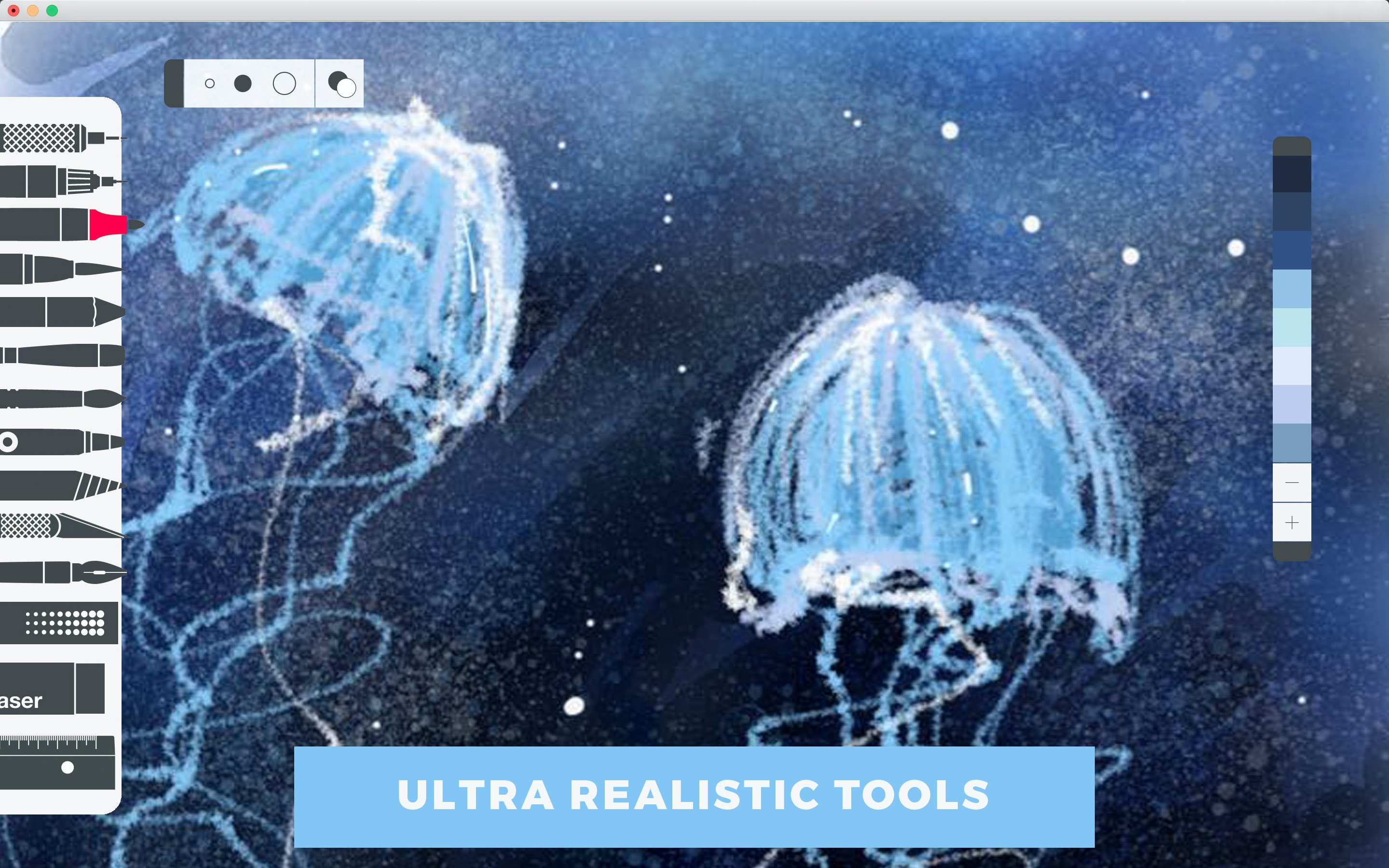Ultra realistic tools for painting, drawing, and sketching.