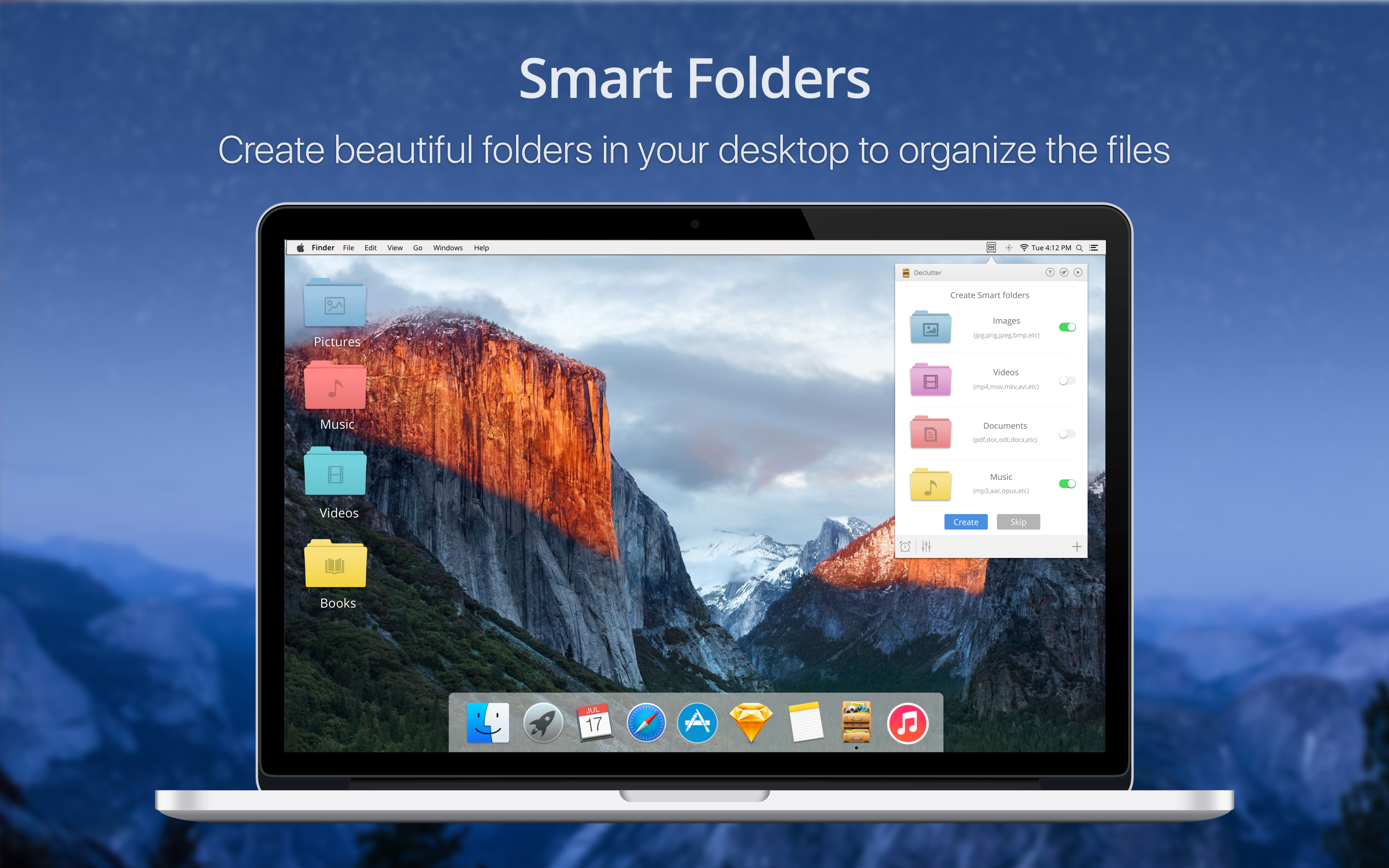 Smart folders - Create beautiful folders in your desktop to organize the files