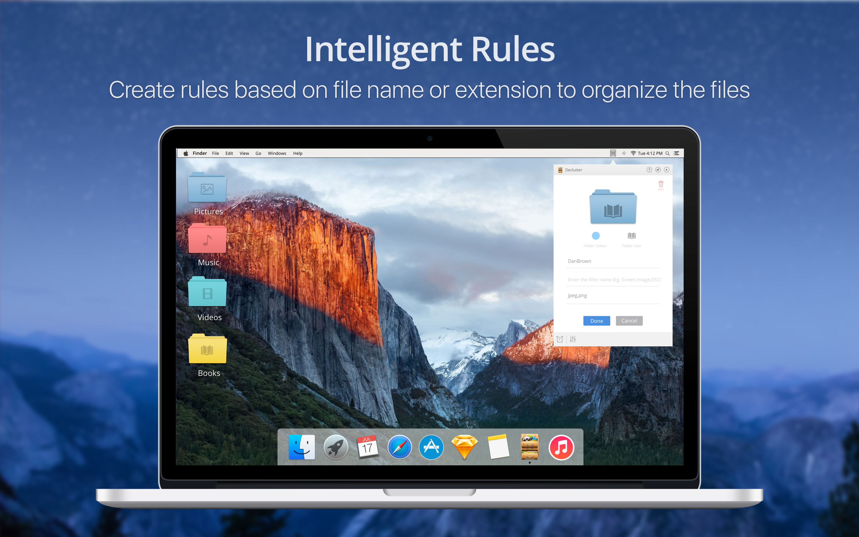 Intelligent rules - Create rules based on file name or extension to organize the files