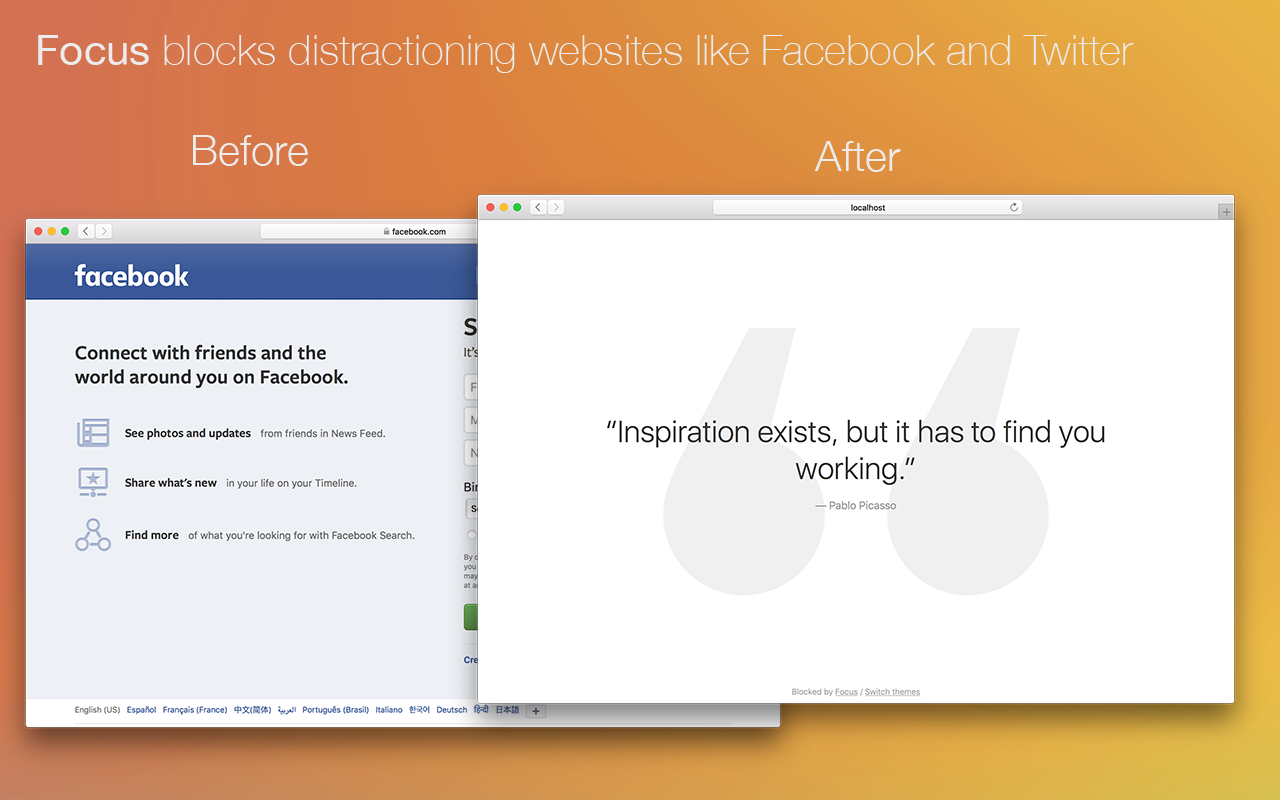 Focus bloquea esos sitios que te distraen de lo importante, como Facebook y Twitter.