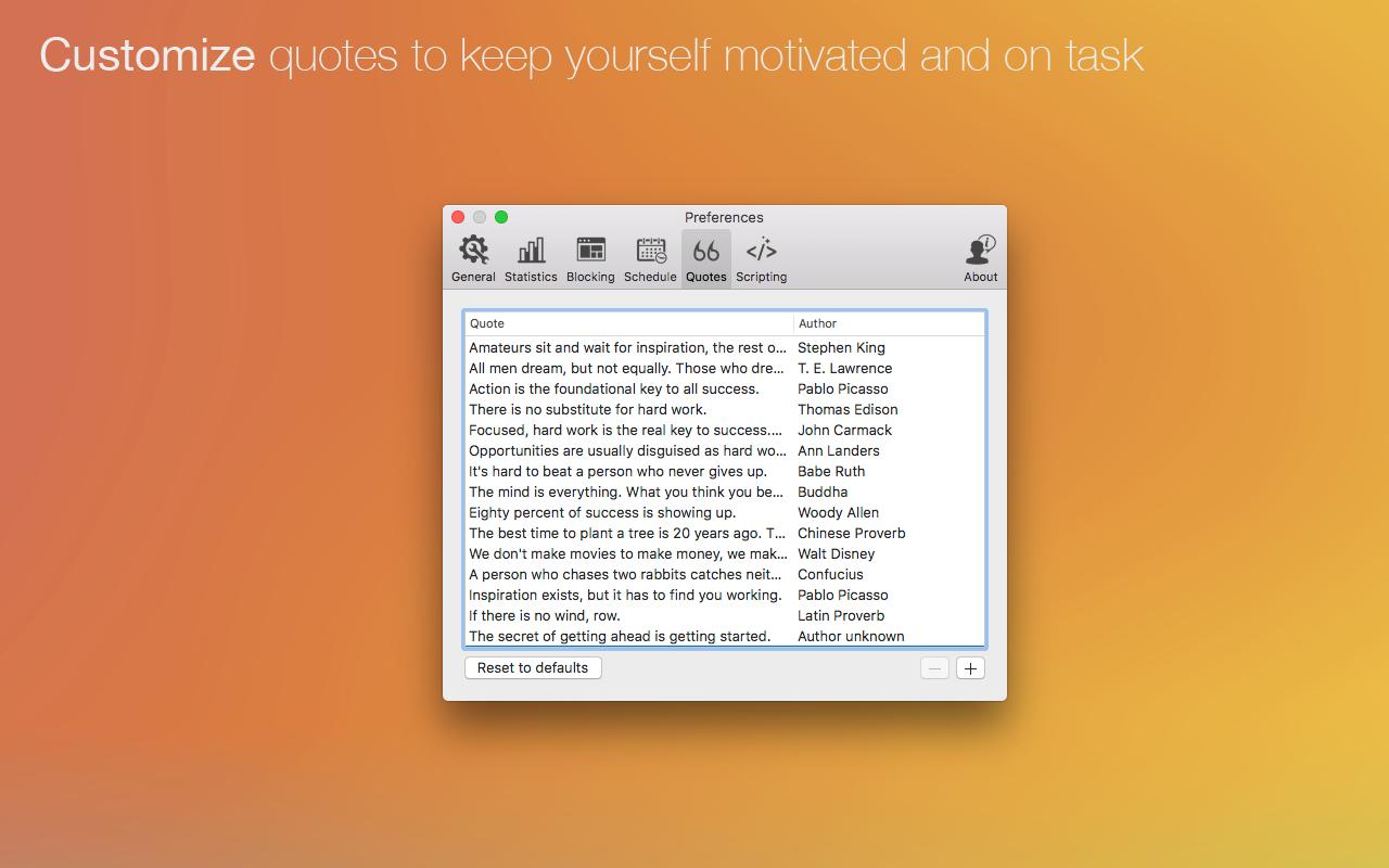 Personaliza citas para ayudarte a mantener la motivación y el nivel de atención.