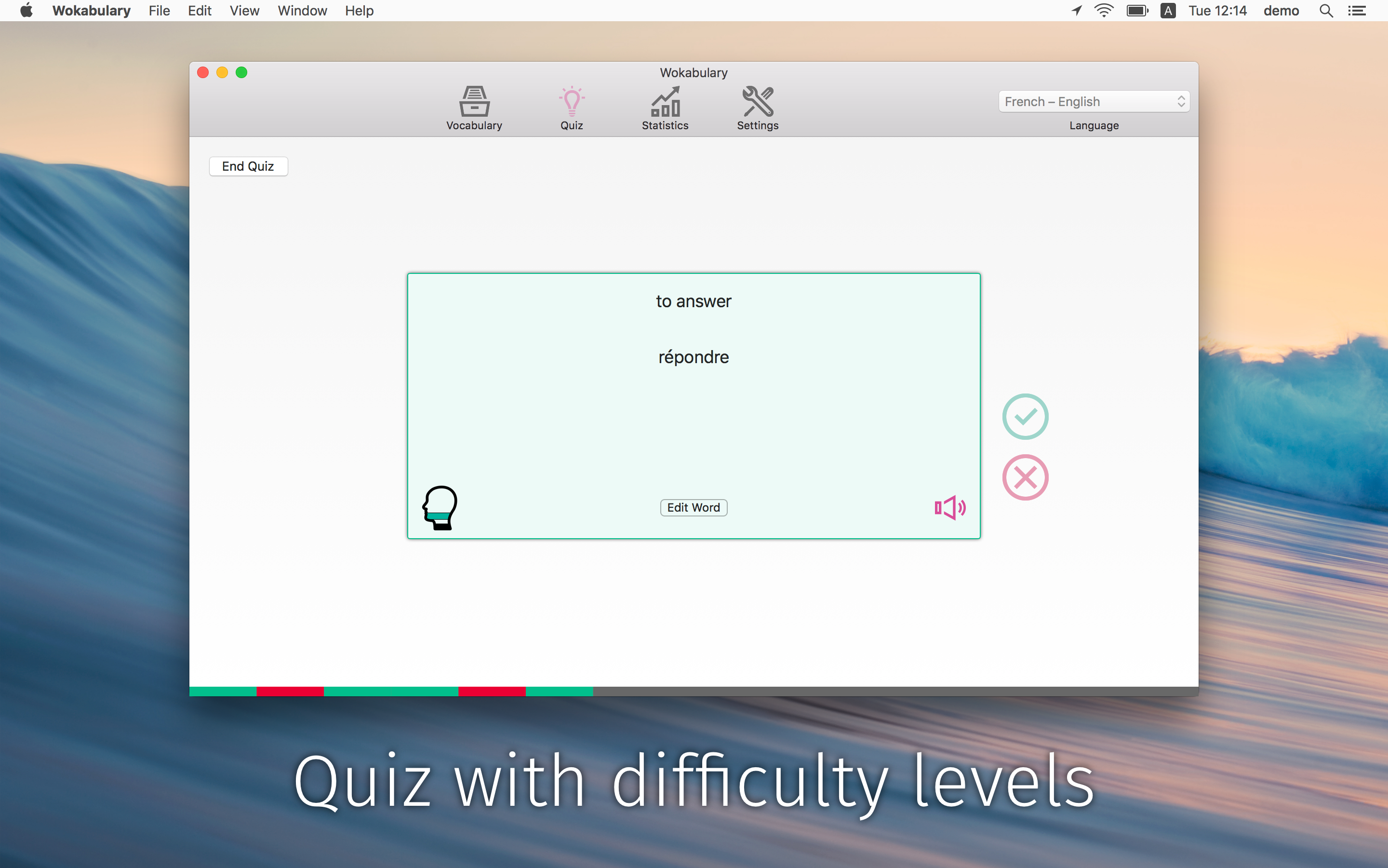 Use quiz modes to practice your words according to your individual learning preferences.
