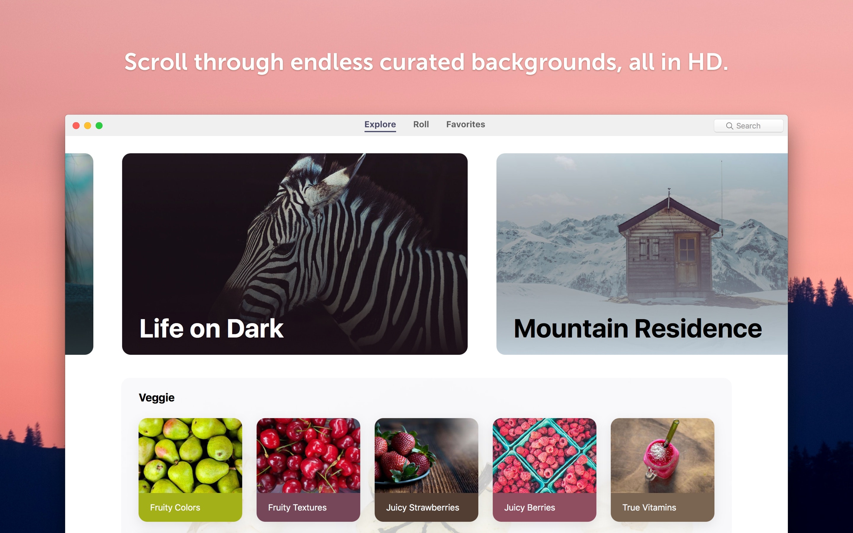 Scroll through the endless curated backgrounds, all in HD.