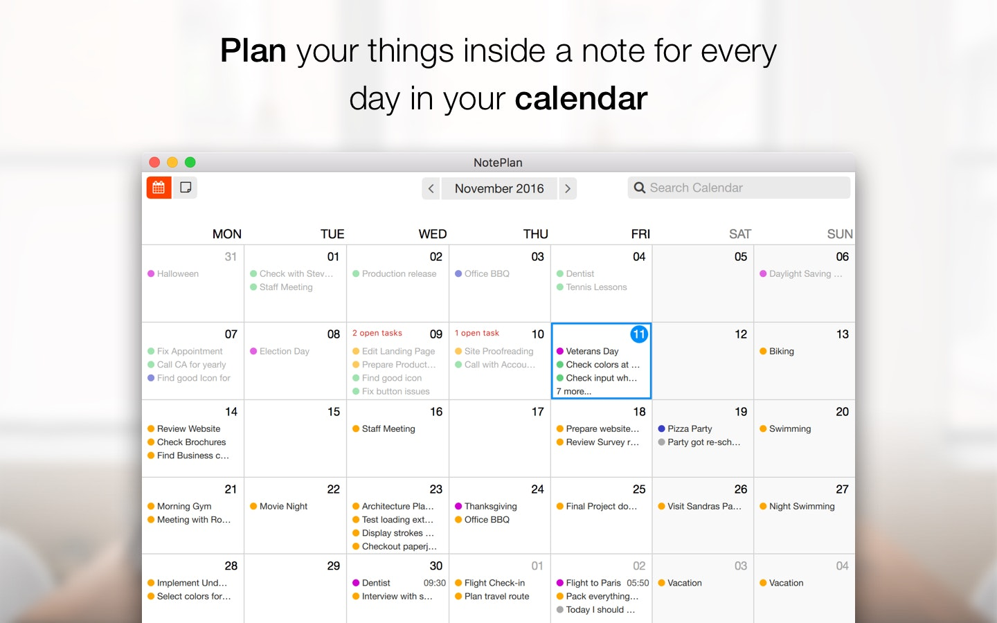 Plan your things inside a note for every day in your NotePlan calendar