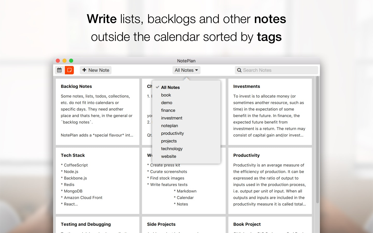 Write lists, backlogs and other notes outside the calendar sorted be tags