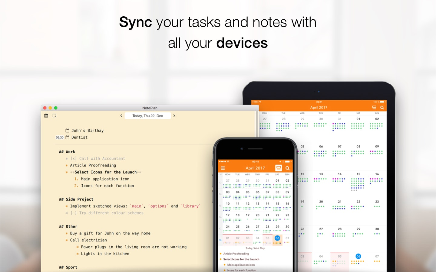 Sync your tasks and notes with all your devices