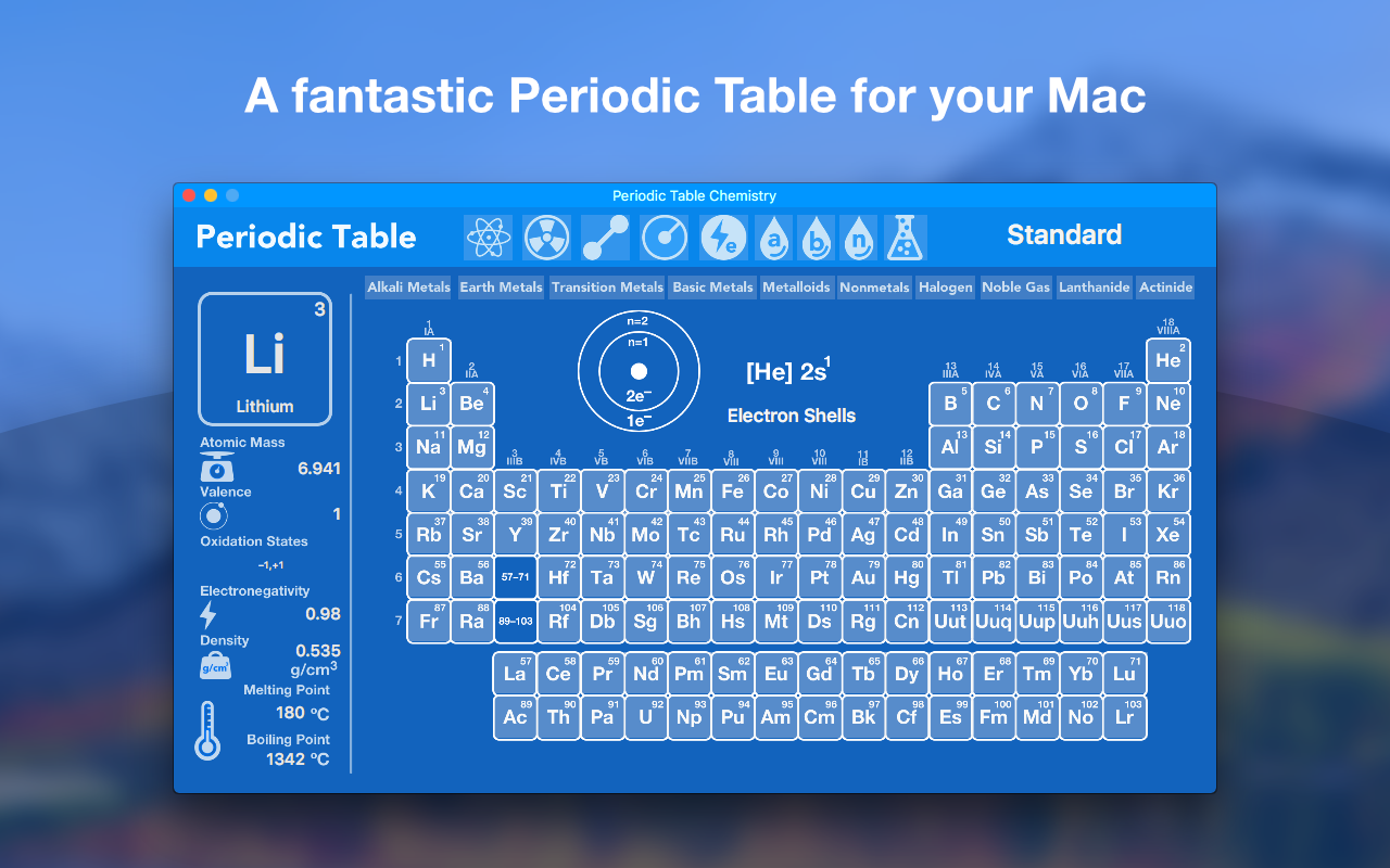 Periodic table chemistry on setapp all the facts on all the a fantastic periodic table for your mac urtaz Image collections