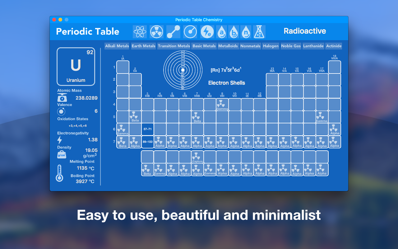 Periodic Table app: easy to use, beautiful and minimalist.