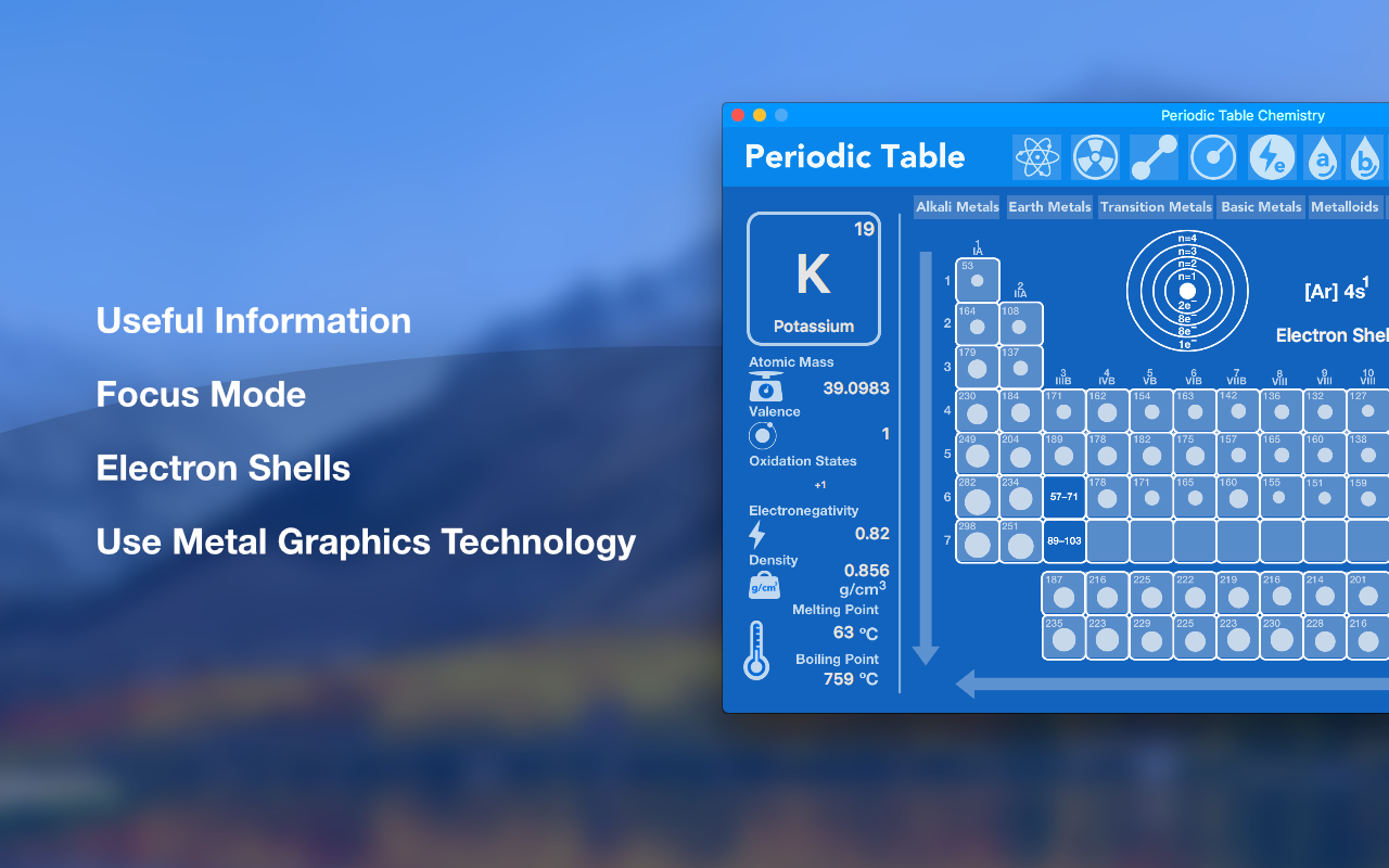 Main features: useful information, focus mode, electron shells, metal graphics technology.