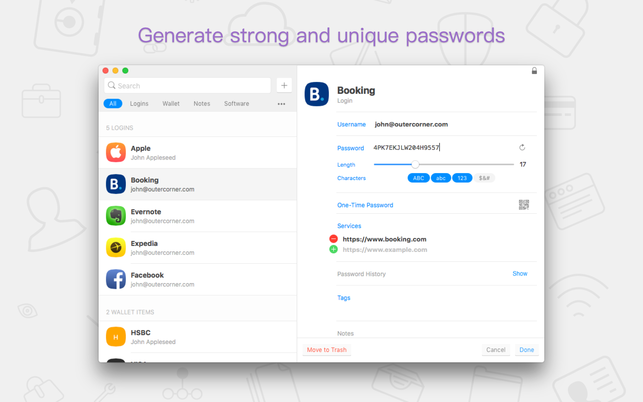 Generate strong and unique passwords