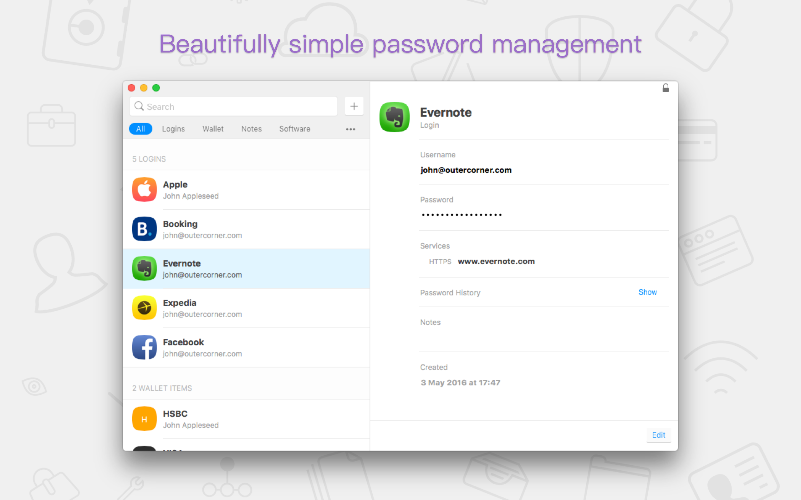 Beautifully simple password management