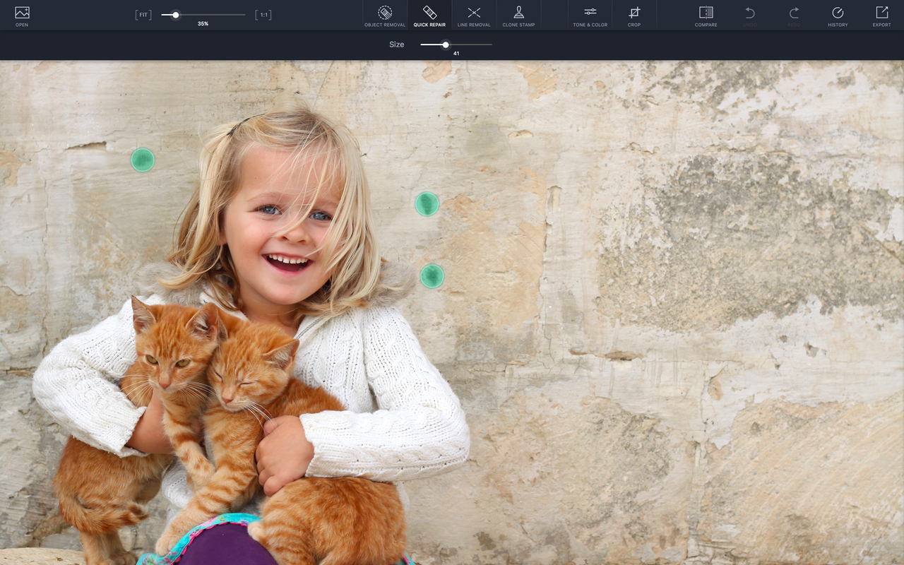 Remove small items from photos by drawing over them with your finger.
