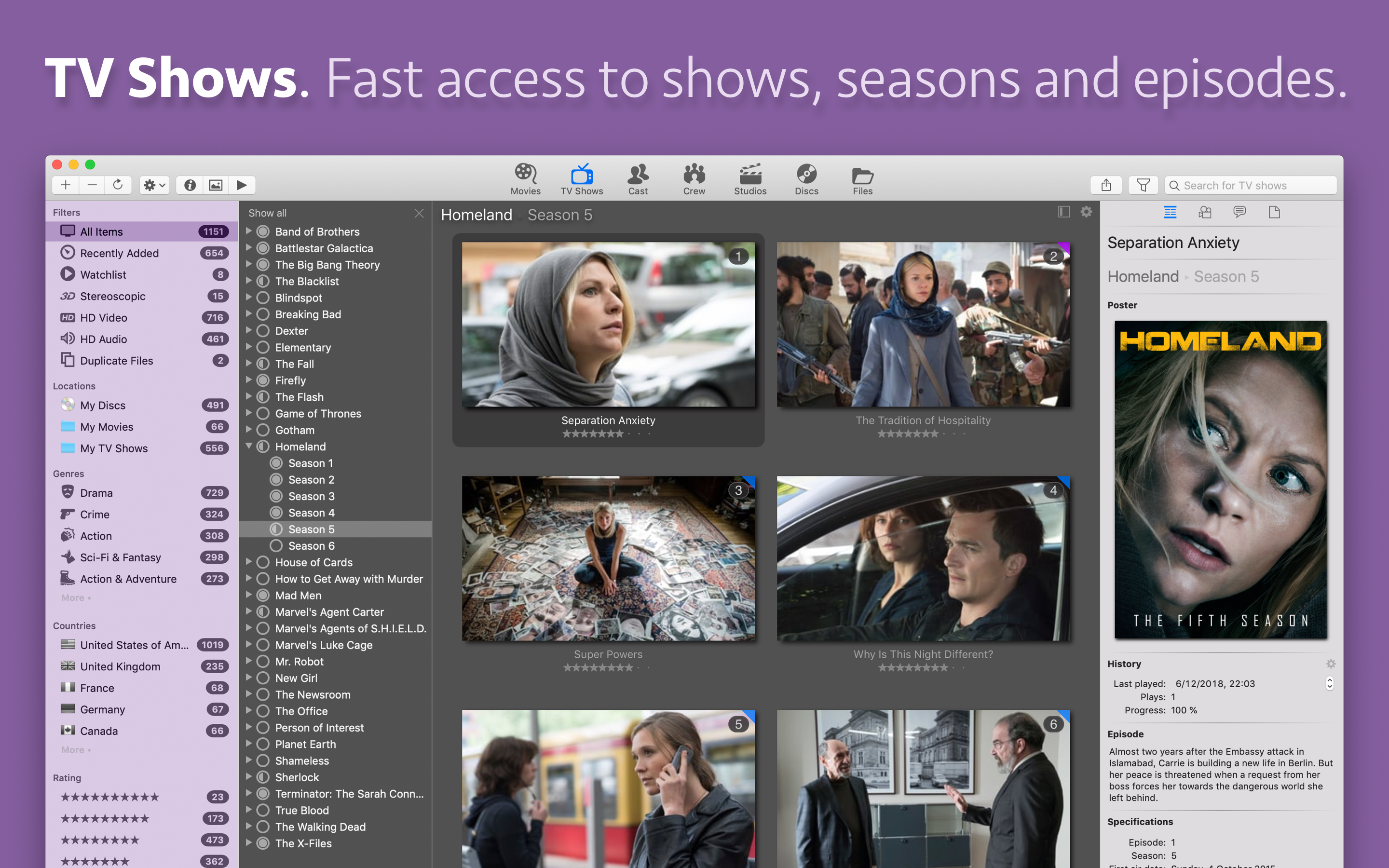 Get fast access to TV shows