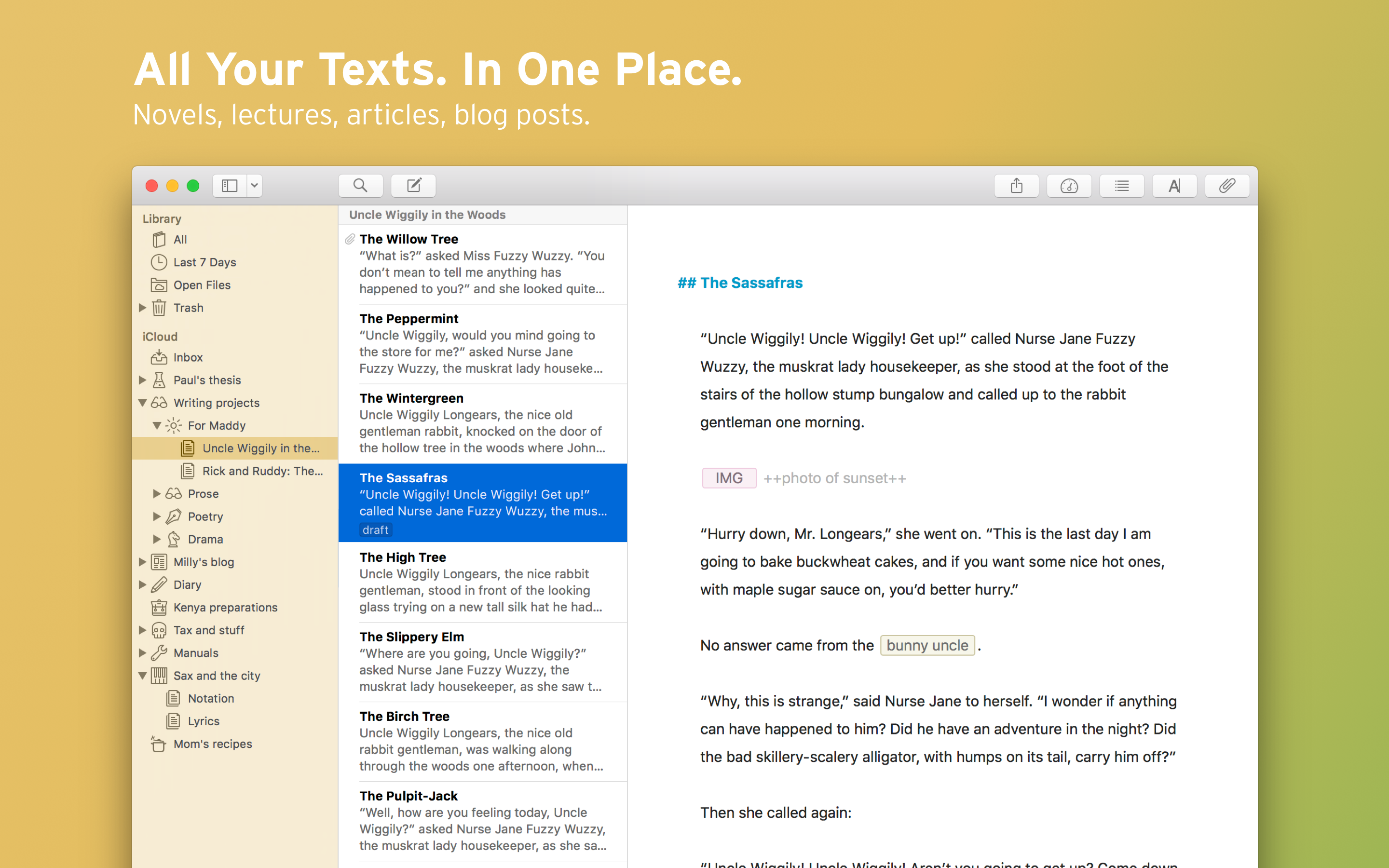 All your texts in one place - Ulysses Library