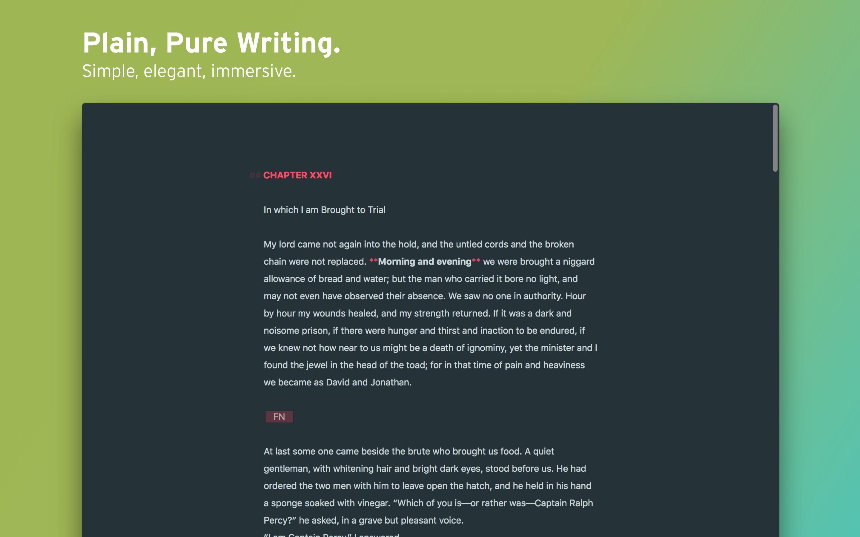 Plain, pure writing mode