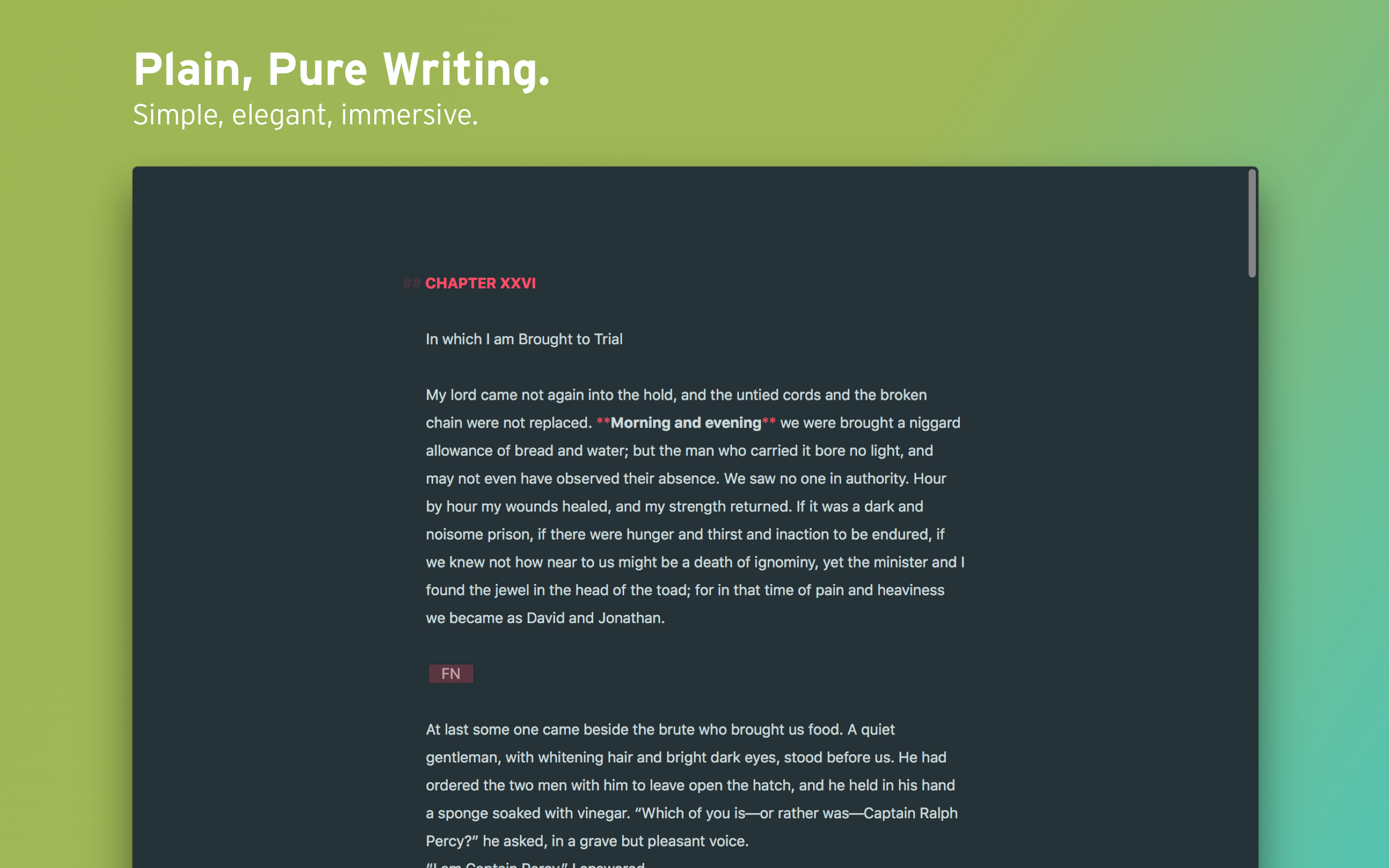 Plain, pure writing mode