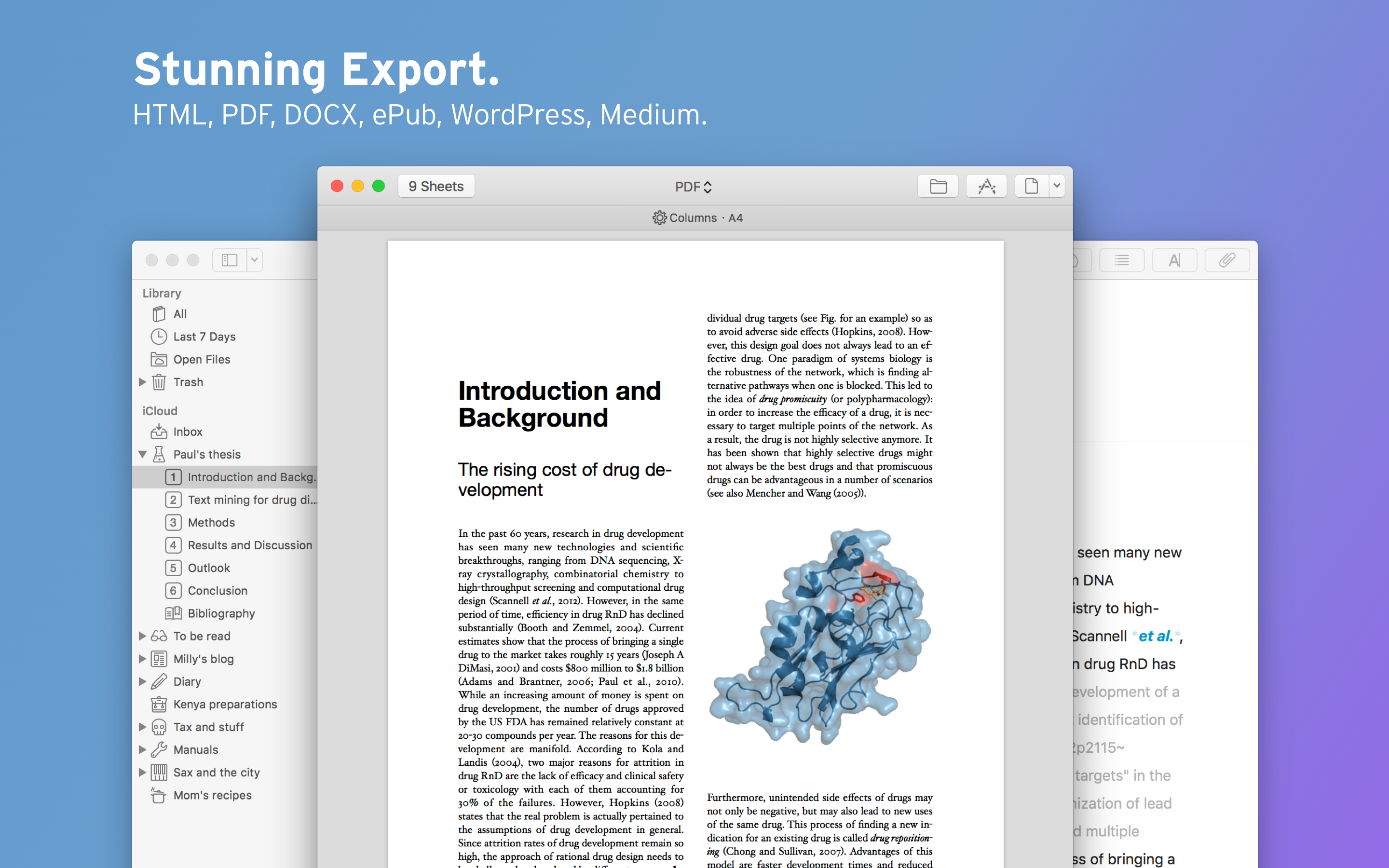 Stunning export your text to HTML, PDF, DOCX, ePUB, WordPress, Medium