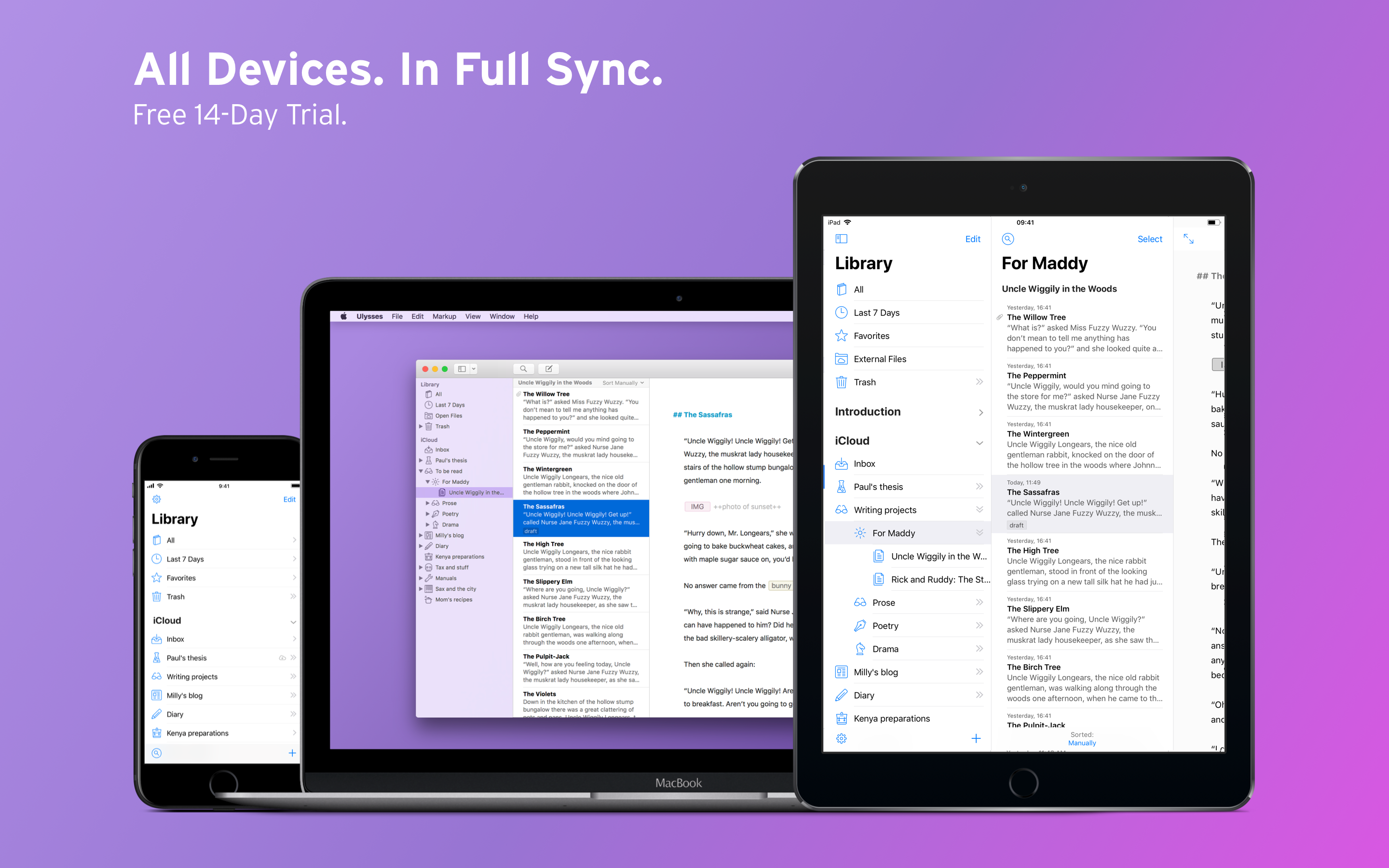 Keep your writings in sync between your devices