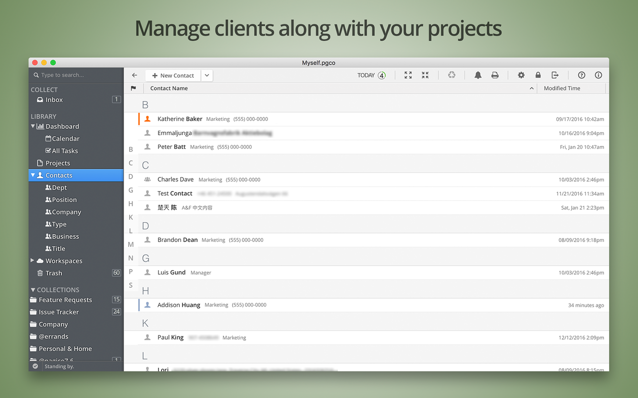 Manage clients along with your projects.