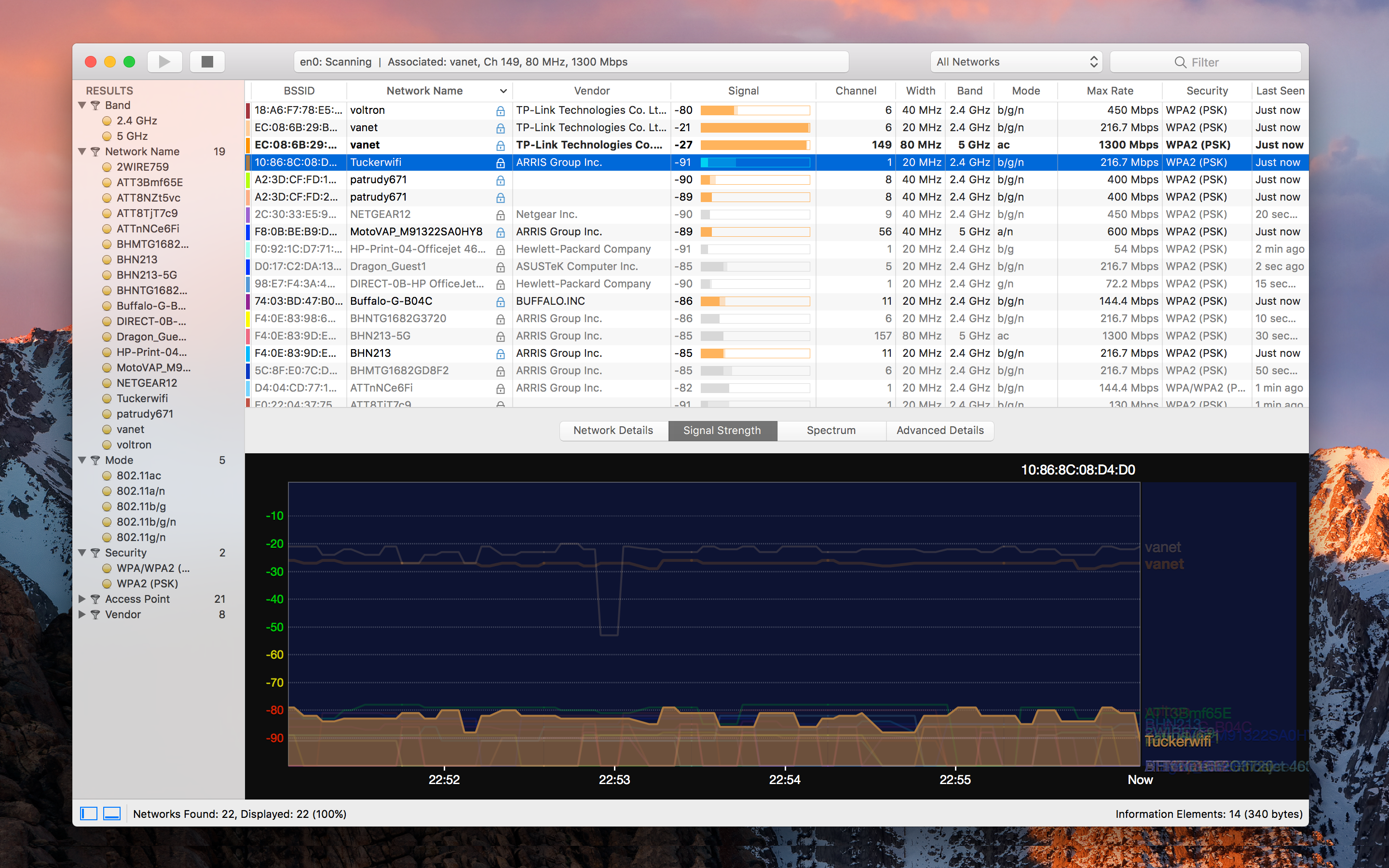 WiFi Explorer provides an option to display signal strength in dBm or percentage values.