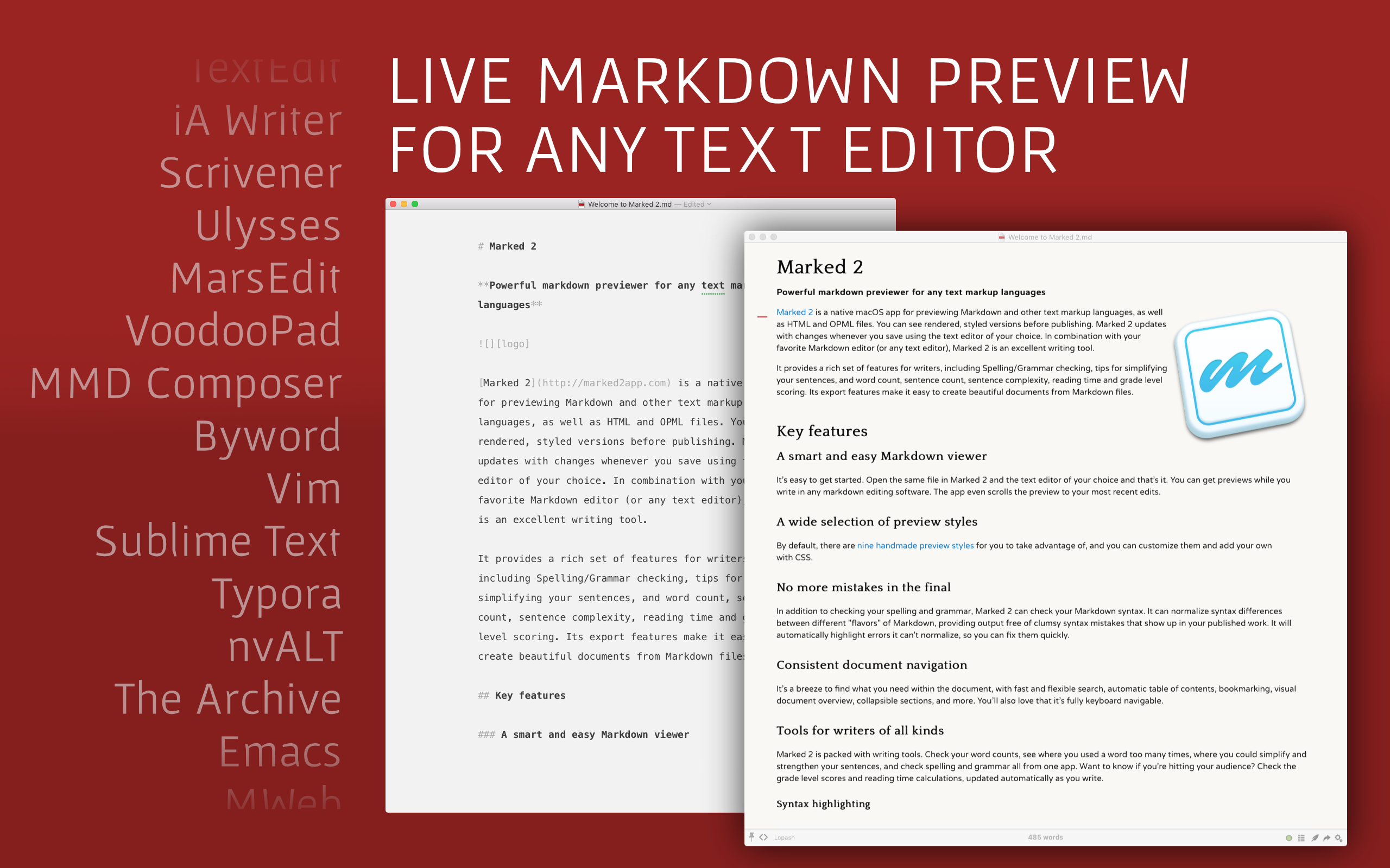 Live markdown preview for any text editors.