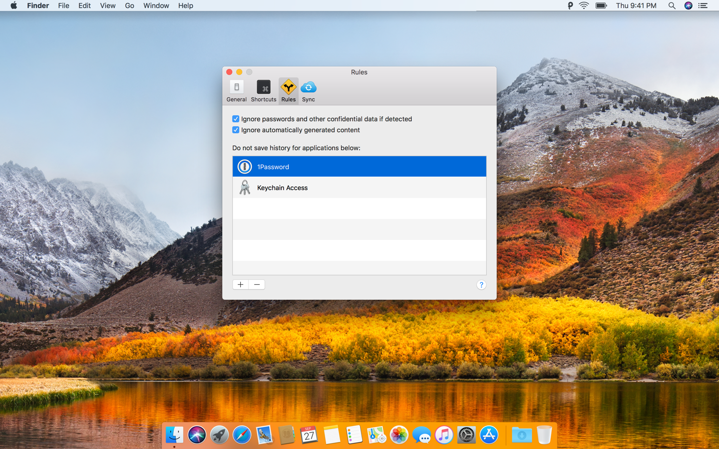 Exclude apps with sensitive information so that data from them won't be stored in Paste clipboards.